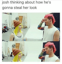 Hayley's hat looks like a flower pot: josh thinking about how he's  gonna steal her look Hayley's hat looks like a flower pot