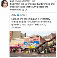 cnn.com, Latinos, and Memes: josh @VIDEOSTARK 13h  It's almost like Latinos are hardworking and  productive and that's why people are  intimidated by us  CNN @CNN  Latinos are becoming an increasingly  critical engine for America's economic  growth, a new report finds cnn.it/  2sdtWvA  FURNITURE  BUILD  ALISERTY TAX SERVICE E Seriously 😞 Repost @latinxwarriors latinx latino latina economy market latinos latinas