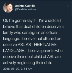 Children, Family, and Parents: Joshua Castille  @CastilleJoshua  Ok I'm gonna say it...I'm a radical l  believe that deaf children deserve a  family who can sign in an official  language. I believe that all children  deserve ASL AS THEIR NATIVE  LANGUAGE. I believe parents who  deprive their deaf child of ASL are  actively neglecting their child  2018-08-02, 3:54 AM disasterbisexualhere:  this is important!