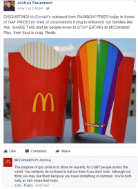 McDonald's: Joshua Feuerstein  June 2 at 3:45pm  DISGUSTING  McDonald's released their RAINBOW FRIES today in honor  of GAY PRIDE  m tired of corporations trying to influence our families like  this. SHARE THIS and let people know to STOP EATING at McDonalds!  Plus, their food is crap. Really.  im lovin.  it  Like Comment  A Share  McDomald's Hi Joshua,  The purpose of gay pride is to strive for equality for LGBT people across the  world. You certainly do not have to eat our fries if you don't wish. Although we  think you may like them because you have something in common. You're both  salty as hell. Hope that helps.  Like Reply Just now McDonald's