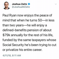 (S): Joshua Zeitz  @JoshuaMZeitz  Paul Ryan now enjoys the peace of  mind that when he turns 50-in less  than two years-he will enjoy a  defined-benefits pension of about  $79k annually for the rest of his life,  funded by the same taxpayers whose  Social Security he's been trying to cut  or privatize his entire career.  4/11/18, 8:11 AM (S)