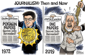 pentagon: JOURNALISM: Then and Now  | TheNewHorkCimes  WikiLeaks  DNG  PAPERS  Secret Info  Revealed!  ALL THE NEWS THAT FITS  NEVER PROVEN WRONG  PENTAGON  PAPERS  Secret Info  Revealed!  PULITZER  PRIZE  1972  aw ww  1972  2019  BEN,  GARRISON  GRRRGRAPHICS
