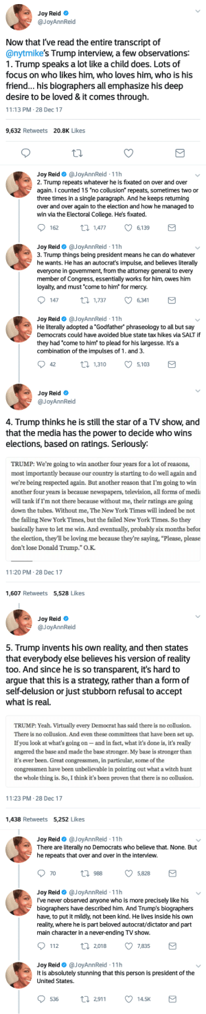 "Arguing, College, and Donald Trump: Joy Reid *  @JoyAnnReid  Now that l've read the entire transcript of  @nytmike's Trump interview, a few observations:  1. Trump speaks a lot like a child does. Lots of  focus on who likes him, who loves him who is his  friend... his biographers all emphasize his deep  desire to be loved & it comes through.  11:13 PM-28 Dec 17  9,632 Retweets 20.8K Likes  Joy Reid Ф @JoyAnn Reid-11 h  2. Trump repeats whatever he is fixated on over and over  again. I counted 15 ""no collusion"" repeats, sometimes two or  three times in a single paragraph. And he keeps returning  over and over again to the election and how he managed to  win via the Electoral College. He's fixated.  162  Π1,477  6,139   Joy Reid Ф @JoyAnnReid-11 h  3. Trump things being president means he can do whatever  he wants. He has an autocrat's impulse, and believes literally  everyone in government, from the attorney general to every  member of Congress, essentially works for him, owes him  loyalty, and must ""come to him for mercy.  147  t 1,737  6,341  Joy Reid @JoyAnnReid 11h  He literally adopted a ""Godfather"" phraseology to all but say  Democrats could have avoided blue state tax hikes via SALT if  they had ""come to him"" to plead for his largesse. It's a  combination of the impulses of 1. and 3.  42  п1310  5,103   Joy Reid *  @JoyAnnReid  4. Trump thinks he is still the star of a TV show, and  that the media has the power to decide who wins  elections, based on ratings. Seriously:  TRUMP: We're going to win another four years for a lot of reasons,  most importantly because our country is starting to do well again and  we're being respected again. But another reason that I'm going to win  another four years is because newspapers, television, all forms of medit  will tank if I'm not there because without me, their ratings are going  down the tubes. Without me, The New York Times will indeed be not  the failing New York Times, but the failed New York Times. So they  basically have to let me win. And eventually, probably six months befor  the election, they'll be loving me because they're saying, ""Please, please  don't lose Donald Trump."" О.К.  11:20 PM 28 Dec 17  1,607 Retweets 5,528 Likes   Joy Reid  @JoyAnnReid  5. Trump invents his own reality, and then states  that everybody else believes his version of reality  too. And since he is so transparent, it's hard to  argue that this is a strategy, rather than a form of  self-delusion or just stubborn refusal to accept  what is real.  TRUMP: Yeah. Virtually every Democrat has said there is no collusion.  There is no collusion. And even these committees that have been set up.  If you look at what's going on - and in fact, what it's done is, it's really  angered the base and made the base stronger. My base is stronger than  it's ever been. Great congressmen, in particular, some of the  congressmen have been unbelievable in pointing out what a witch hunt  the whole thing is. So, I think it's been proven that there is no collusion.  11:23 PM-28 Dec 17  1,438 Retweets 5,252 Likes   Joy Reid@JoyAnnReid.11h  There are literally no Democrats who believe that. None. But  he repeats that over and over in the interview.  0988  5,828  Joy Reid Ф @JoyAnnReid-11 h  l've never observed anyone who is more precisely like his  biographers have described him. And Trump's biographers  have, to put it mildly, not been kind. He lives inside his own  reality, where he is part beloved autocrat/dictator and part  main character in a never-ending TV show.  112  п2,018  7,835  Joy Reid Ф @JoyAnnReid-11 h  It is absolutely stunning that this person is president of the  United States. bookahplease:  passingafternoons: ICYMI: Trump's latest uncensored, unsupervised interview with a NYTIMES reporter should be required reading for every American."