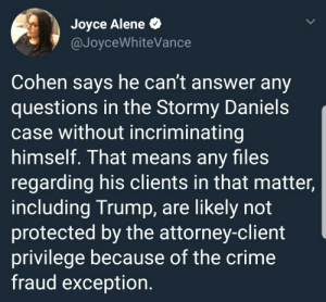 Crime, Tumblr, and Blog: Joyce Alene *  @JoyceWhiteVance  Cohen says he can't answer any  questions in the Stormy Daniels  case without incriminating  himself. That means any files  regarding his clients in that matter,  including Trump, are likely not  protected by the attorney-client  privilege because of the crime  fraud exception. liberalsarecool:  No attorney for sitting President has EVER invoked the 5th in connection with issues regarding the President. Ever.