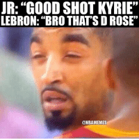 "Basketball, Cavs, and J.R. Smith: JR: ""GOOD SHOT KYRIE""  LEBRON: ""BRO THAT'S D ROSE""  @NBAMEMES This is how JR smith will find out the Cavs lost Kyrie 😂"