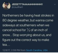 Blackpeopletwitter, School, and Heat: @Jsullhart  Northerners be having heat strokes in  80 degree weather, but wanna come  sideways at southerners when we  cancel school for of an inch of  snow.. Stop worrying about us, and  figure out the correct way to make  tea....  12/9/17, 2:59 PM from South Carolina, USA <p>This is more accurate that ever now in SC (via /r/BlackPeopleTwitter)</p>