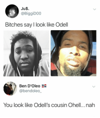 Football, Nfl, and Sports: Ju$.  @BiggiDO0  Bitches say I look like Odell  Ben D'Oleo  @bendoleo_  You look like Odell's cousin Ohell..nah #tbt https://t.co/WDBOqECoCa