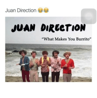 "Finally a band i can listen too while eating chipotle 😂 @______teenagers______: Juan Direction  JUAN DIRECTION  ""What Makes You Burrito"" Finally a band i can listen too while eating chipotle 😂 @______teenagers______"