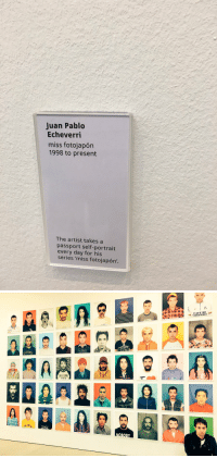 Memes, Mtv, and Photobomb: Juan Pablo  Echeverri  miss fotojapon  1998 to present  The artist takes a  passport every day for his  series 'miss fotojapon'.   CAFE DE  44242  NEWYORK  MTV  PE COD .@saatchi_gallery @VAMNit And with apologies to Juan Pablo Echeverri's OUTSTANDING work, no selfie exhibit is complete without a photobomb  #MissFotojapón https://t.co/07D18XZfAf