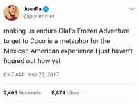 """CoCo, Frozen, and Memes: JuanPa  @jpbrammer  making us endure Olaf's Frozen Adventure  to get to Coco is a metaphor for the  Mexican American experience I just haven't  figured out how yet  6:47 AM Nov 27, 2017  2,465 Retweets  8,874 Likes 😂 According to several reports, starting Dec 8th the 21 minute long Frozen """"short"""" that plays before Coco is gonna be removed. The devil has been defeated! 💯🙌🏽 goodmorning coco DayOfTheDead DiaDeLosMuertos"""