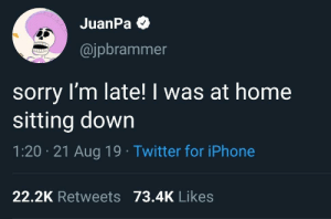 meirl: JuanPa O  @jpbrammer  sorry I'm late! I was at home  sitting down  1:20 · 21 Aug 19 · Twitter for iPhone  22.2K Retweets 73.4K Likes meirl