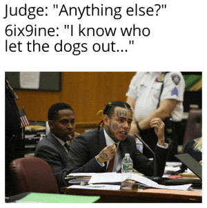 "Shitposting time: Judge: ""Anything else?""  6ix9ine: ""I know who  let the dogs out..."" Shitposting time"