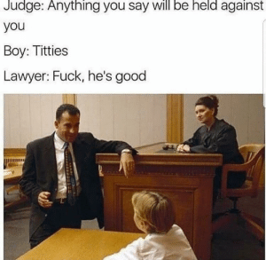 How to plead not guilty 101 by AnthraxPrime6 MORE MEMES: Judge:  Anything  you say be  will  held  against  you  Boy: Titties  Lawyer: Fuck, he's good How to plead not guilty 101 by AnthraxPrime6 MORE MEMES