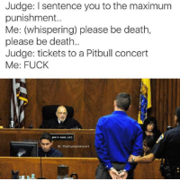 "Dank, 🤖, and Deaths: Judge: I sentence you to the maximum  punishment.  Me: (whispering) please be death  please be death.  Judge: tickets to a Pitbull concert  Me: FUCK  IG: TheFunnylntrovert ""Please, don't do this to me."" 😩😩"