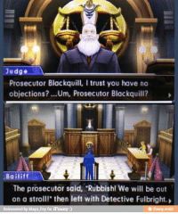 "Blackquill has no chill: Judge  Prosecutor Blackquill, l trust you have no  objections? ...Um, Prosecutor Blackquill?  Bailif  The prosecutor said, ""Rubbish! We will be out  on a stroll!"" then left with Detective Fulbright.  Reinvented by Maya Fey for iFunny  ifunny mobi Blackquill has no chill"