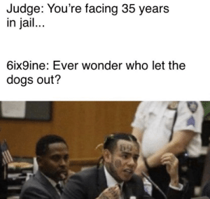Y'all wonder?: Judge: You're facing 35 years  in jail...  6ix9ine: Ever wonder who let the  dogs out? Y'all wonder?