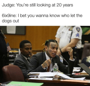 memeatic: Judge: You're still looking at 20 years  6ix9ine: I bet you wanna know who let the  dogs out  made with mematic memeatic