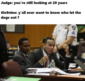 who did it tho ?: Judge: you're still looking at 20 years  6ix9nine: y'all ever want to know who let the  dogs out?  ,20 years  made with paint  G19 who did it tho ?