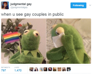 Taco Bell, Tumblr, and Ugly: judgmental gay  @judgmentalgay  Following  when u see gay couples in public  RETWEETS  LIKES  797  1,470 santeria:  when people see me and @c-bassmeow  Either this or like that gay kid at Taco Bell who looked like he hated us cus he was lonely and ugly and a hater