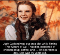 wizard: Judy Garland was put on a diet while filming  The Wizard of Oz. That diet, consisted of  chicken soup, coffee, and 80 cigarettes a  day. She was 16 years old.