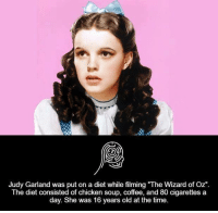"""Dieting, Memes, and Chicken: Judy Garland was put on a diet while filming """"The Wizard of Oz""""  The diet consisted of chicken soup, coffee, and 80 cigarettes a  day. She was 16 years old at the time."""