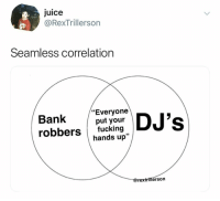 "Fucking, Juice, and Bank: Juice  @RexTrillerson  Seamless correlation  Bank DJ's  ""Everyone  put your  robbers fucking  hands up""  lerso @rextrillerson"