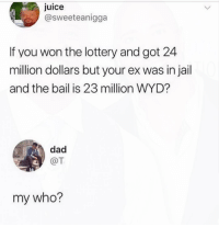 Dad, Jail, and Juice: juice  @sweeteanigga  If you won the lottery and got 24  million dollars but your ex was in jail  and the bail is 23 million WYD?  dad  @T  my who? 🤔😂