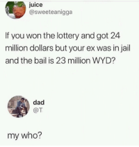 Dad, Jail, and Juice: juice  @sweeteanigga  If you won the lottery and got 24  million dollars but your ex was in jail  and the bail is 23 million WYD?  dad  @T  my who?