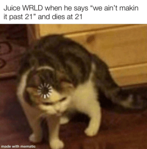 """He really did himself there: Juice WRLD when he says """"we ain't makin  it past 21"""" and dies at 21  made with mematic He really did himself there"""