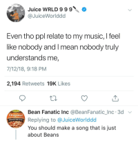 Baked, Fanatic, and Juice: Juice WRLD999O  @JuiceWorlddd  Even tho ppl relate to my music, I feel  like nobody and I mean nobody truly  understands me,  7/12/18, 9:18 PM  2,194 Retweets 19K Likes  Bean Fanatic Inc @BeanFanatic_Inc. 3d  Replying to @JuiceWorlddod  You should make a song that is just  about Beans  Original  BAKED BEANS
