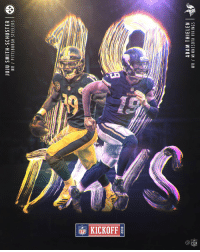 Memes, Minnesota Vikings, and Pittsburgh Steelers: JUJU SMITH-SCHUSTER  WR PITTSBURGH STEELERS  2018  ADAM THIELEN  WR MINNESOTA VIKINGS  2 1⃣9⃣DAYS TO GO.   #Kickoff2018 https://t.co/5ea9pcaNka