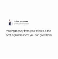 So true @julesmarcoux - money is the root of creative freedom! Follow 👉 @julesmarcoux: Jules Marcoux  @iam julesmarcoux  making money from your talents is the  best sign of respect you can give them So true @julesmarcoux - money is the root of creative freedom! Follow 👉 @julesmarcoux