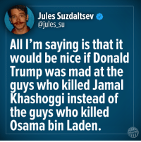 Jules: Jules Suzdaitseve  @jules su  All I'm saying is that it  would be nice if Donald  Trump was mad at the  guys who killed Jamal  Khashoggi instead of  the guys who killed  Osama bin Laden.  Other98