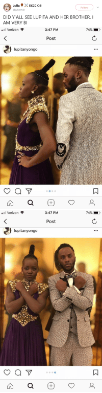 """Beautiful, Omg, and Tumblr: Julia . > . ECCC Q8  @juliaerec  Follow  DID Y'ALL SEE LUPITA AND HER BROTHER.I  AM VERY BI   Verizon  3:47 PM  Post  lupitanyongo   Verizon  3:47 PM  Post  lupitanyongo <p><a href=""""https://gahdamnpunk.tumblr.com/post/170552517204/omg-theyre-so-beautiful-its-unreal-also-peep"""" class=""""tumblr_blog"""">gahdamnpunk</a>:</p>  <blockquote><p>Omg they're so beautiful it's unreal 😍</p><p>Also peep the Black panther elbow patches!!<br/></p></blockquote>"""