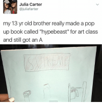 """The greatest story ever told: Julia Carter  ajuliafarter  my 13 yr old brother really made a pop  up book called """"hypebeast"""" for art class  and still got an A The greatest story ever told"""