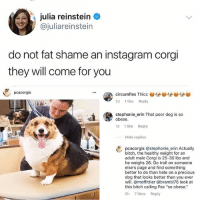 "Being Alone, Bitch, and Corgi: julia reinstein  @juliareinstein  do not fat shame an instagram corgi  they will come for you  . pcacorgis  circumflex Thicc  2d 1 like Reply  stephonie_erin That poor dog is so  1d 1 like Reply  obese.  Hide replies  pcacorgis @stephonie erin Actuallyy  bitch, the healthy weight for an  adult male Corgi is 25-30 lbs and  he weighs 26. Go troll on someone  else's page and find something  better to do than hate on a precious  dog that looks better than you ever  will. @moffittier @brambi76 look at  this bitch calling Pax ""so obese.""  8h 7 likes Reply Leave the good thicc boys alone. Tw: juliareinstein"