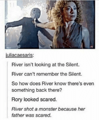 Memes, Monster, and Back: juliacaesaris:  River isn't looking at the Silent.  River can't remember the Silent.  So how does River know there's even  something back there?  Rory looked scared.  River shot a monster because her  father was scared.