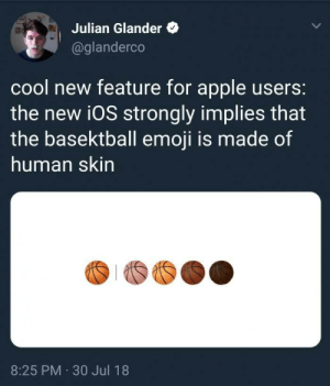 Apple, Dank, and Emoji: Julian Glander  @glanderco  cool new feature for apple users:  the new i0S strongly implies that  the basektball emoji is made of  human skin  8:25 PM 30 Jul 18 danktoday:  * Discomfort intensifies* by live4lifelegit MORE MEMES  *looks around nervously*