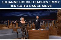 "Club, Target, and youtube.com: JULIANNE HOUGH TEACHES JIMMY  HER GO-TO DANCE MOVE   <p><a href=""https://www.youtube.com/watch?v=TUandU1_1uc&amp;list=UU8-Th83bH_thdKZDJCrn88g"" target=""_blank"">Jimmy gets a little help from Julianne Hough for his go-to move</a> in the club! </p>"