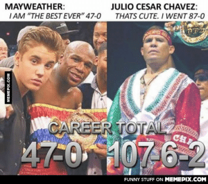 "That's cute my sweet boyomg-humor.tumblr.com: JULIO CESAR CHAVEZ:  THATS CUTE. I WENT 87-0  MAYWEATHER:  IAM ""THE BEST EVER"" 47-0  CAREER TOTAL  CH  47-0 107 6-2  FUNNY STUFF ON MEMEPIX.COM  MEMEPIX.COM That's cute my sweet boyomg-humor.tumblr.com"