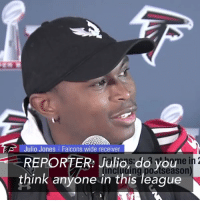 "Memes, 🤖, and Julio Jones: Julio Jones l Falcons wide receiver  REPORTER: Julio, do you e  think anyone in this league REPORTER: Do you think anyone in the NFL can cover you one-on-one? @juliojones_11: ""One-on-one? No, I do not."""