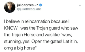 "Gif, Omg, and Saw: julio torres ~*  @juliothesquare  l believe in reincarnation because  KNOW I was the Trojan guard who saw  the Trojan Horse and was like ""wow,  stunning, yes! Open the gates! Let it in,  omg a big horse"" colbycub:"