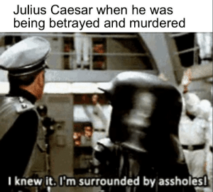 Ludicrous Speed, GO!: Julius Caesar when he was  being betrayed and murdered  I knew it. I'm surrounded by assholes! Ludicrous Speed, GO!