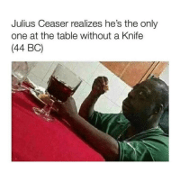 Classical Art, Only One, and Table: Julius Ceaser realizes he's the only  one at the table without a Knife  (44 BC) Hold on