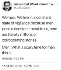Target, Goat, and Ford: Julius Goat (Read Pinned Tw  @JuliusGoat  Women: We live in a constant  state of vigilance because men  pose a constant threat to us, here  are literally millions of  corroborating stories.  Men: What a scary time for mern  this is.  9/18/18, 7:06 PM  17.3K Retweets 60.7K Likes 2018 Was the Year of Sexual Violence