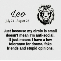 😂😂😂 This is me as a #FieryLeo 😎 I hate stupid opinions!!!😂😂😂 #LeoRocks: July 23 August 22  Just because my circle is small  doesn't mean I'm anti-social.  It just means I have a low  tolerance for drama, fake  friends and stupid opinions. 😂😂😂 This is me as a #FieryLeo 😎 I hate stupid opinions!!!😂😂😂 #LeoRocks