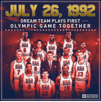 25 years ago today, The Dream Team made their official Olympic debut.: JULY 26, 1992  DREAM TEAM PLAYS FIRST  OLYMPIC GAME TOGETHER  USA  SA  US  13  USA  12  CBS SPORTS 25 years ago today, The Dream Team made their official Olympic debut.