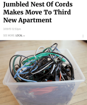 Dank, Memes, and Reddit: Jumbled Nest Of Cords  Makes Move To Third  New Apartment  3/09/15 12:53pm  SEE MORE: LOCAL Me🔌irl by NuggaloNation FOLLOW 4 MORE MEMES.