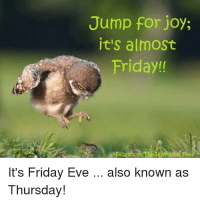 Friday, It's Friday, and Memes: Jump for joy;  it's almoSt  Friday!  It's Friday Eve  Thursday!  also known as
