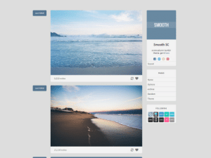 adorablethemes: Smooth SC Theme One column / 500px posts Customizable colors and sidebar image Can show your followed blogs Social media icons Toggle infinite scrolling Styled reblog comments Code | Preview | Options | More themes : Jun 9 2016  SMOOTH  Smooth SC  one column tumblr  theme. get it here  Search  PAGES  9,518 notes  Home  Options  Archive  Random  Jun 9201  LOWING  83  23,134 notes adorablethemes: Smooth SC Theme One column / 500px posts Customizable colors and sidebar image Can show your followed blogs Social media icons Toggle infinite scrolling Styled reblog comments Code | Preview | Options | More themes